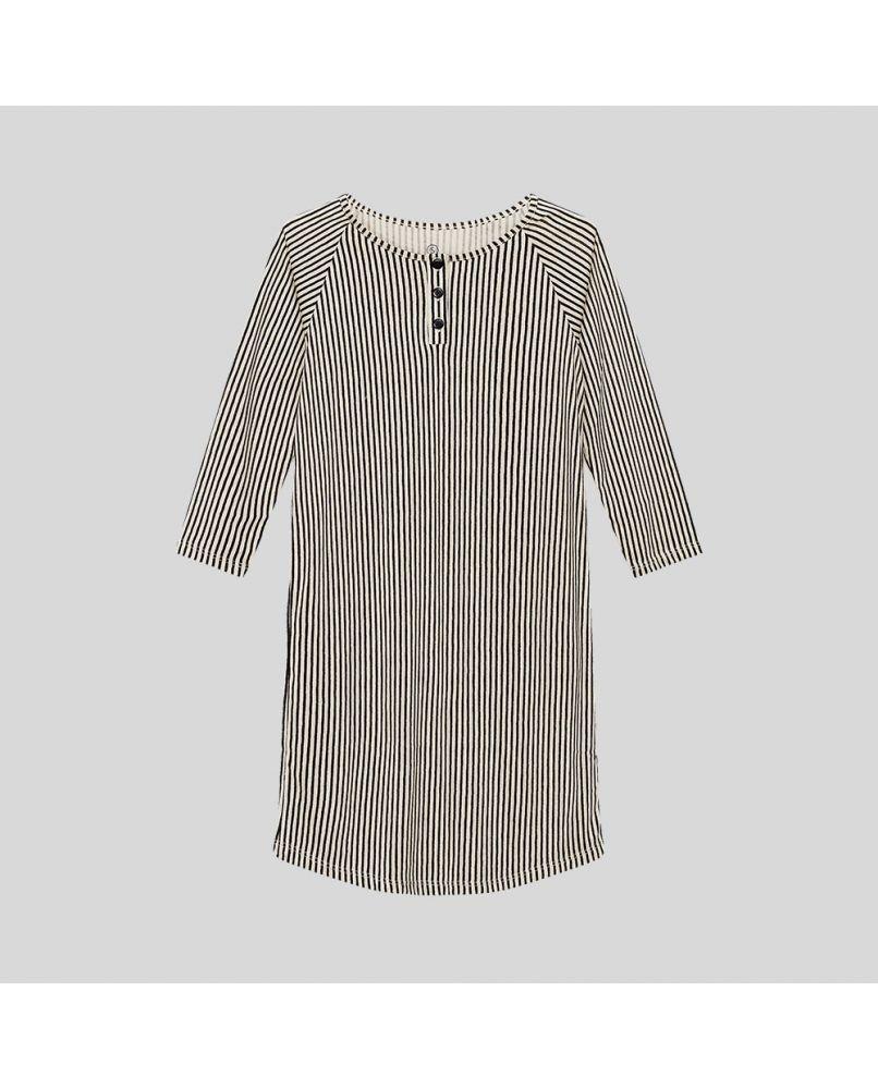 Nightshirt for kids in beige/black vertical stripes