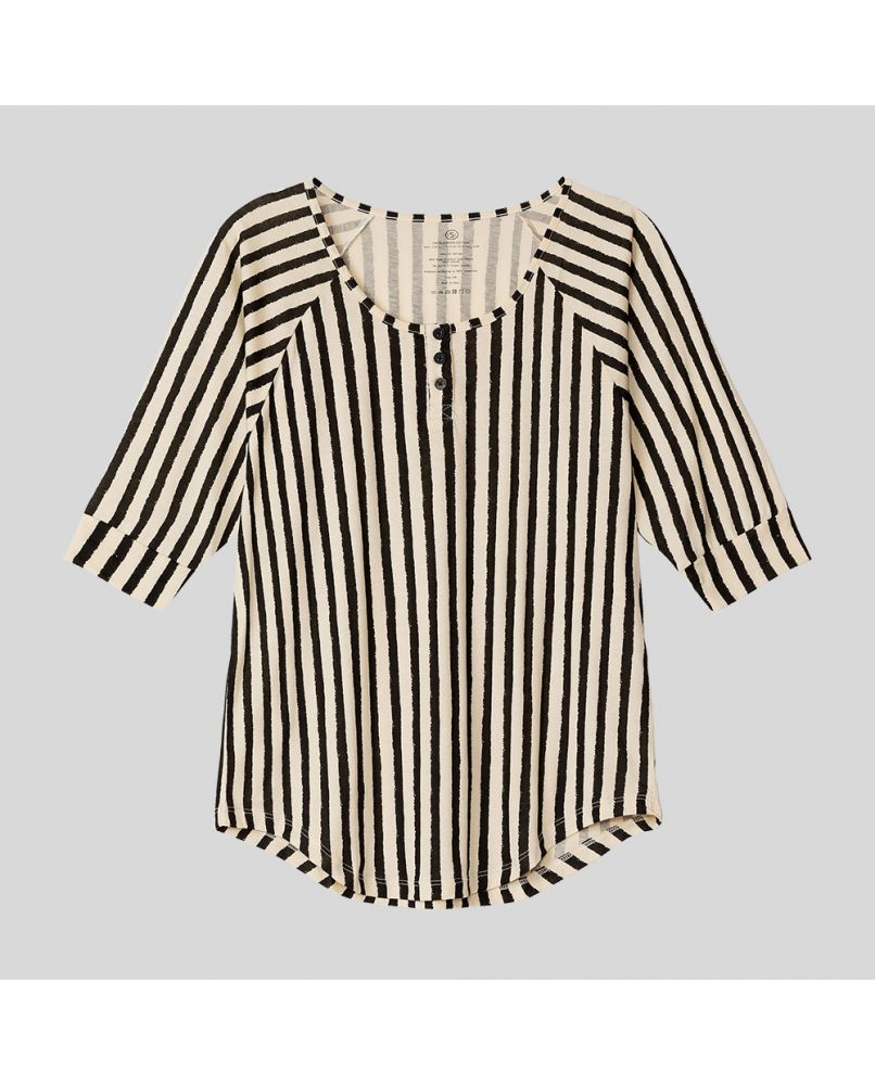 Women's PJ top with three buttons and 2/3 sleeves. Vertical stripes in color black and beige. Made from silky smooth and organic Pima cotton.