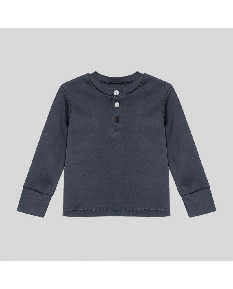 Kids PJ top in dark blue/grey with three buttons (grandpa style). The third button has a different color.