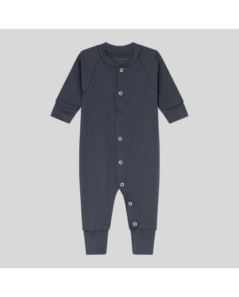 Baby sleepsuit in dark grey(midnight blue), with white snaps and a front opening (third snap in brown)