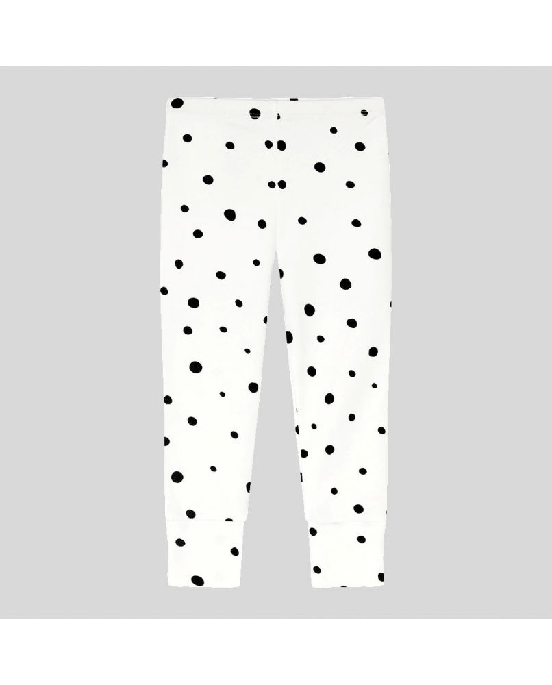 Kids PJ pants in white with black polka dots