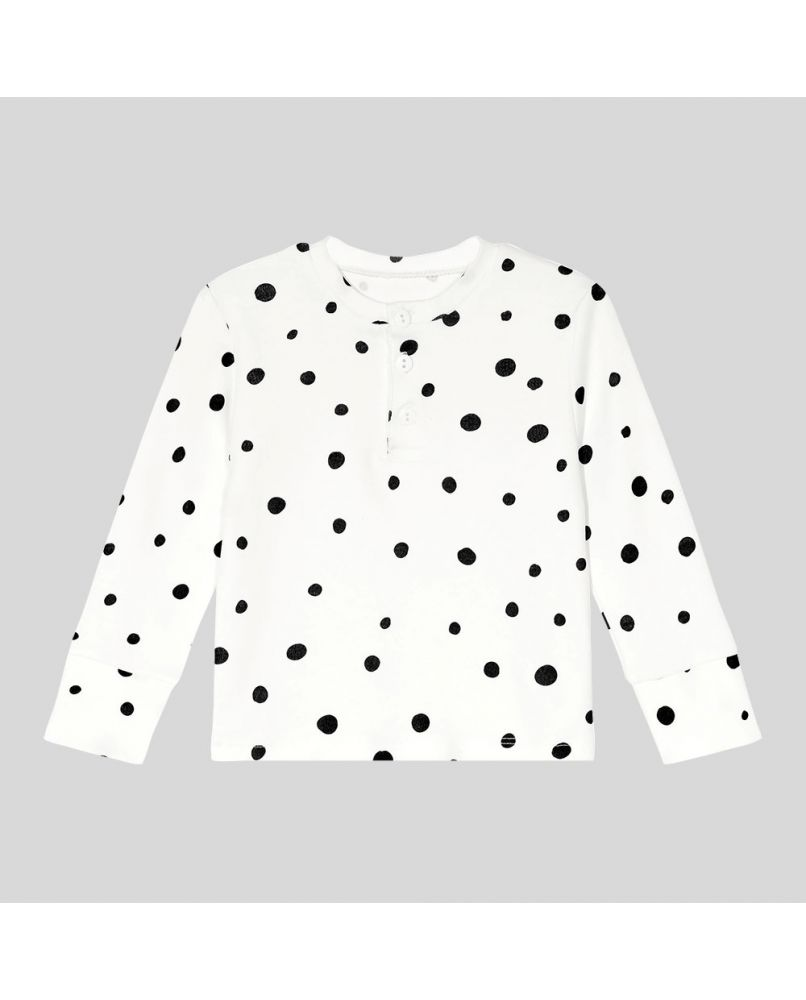 Kids grandpa pajamas shirt in white, with black polka dots and three buttons