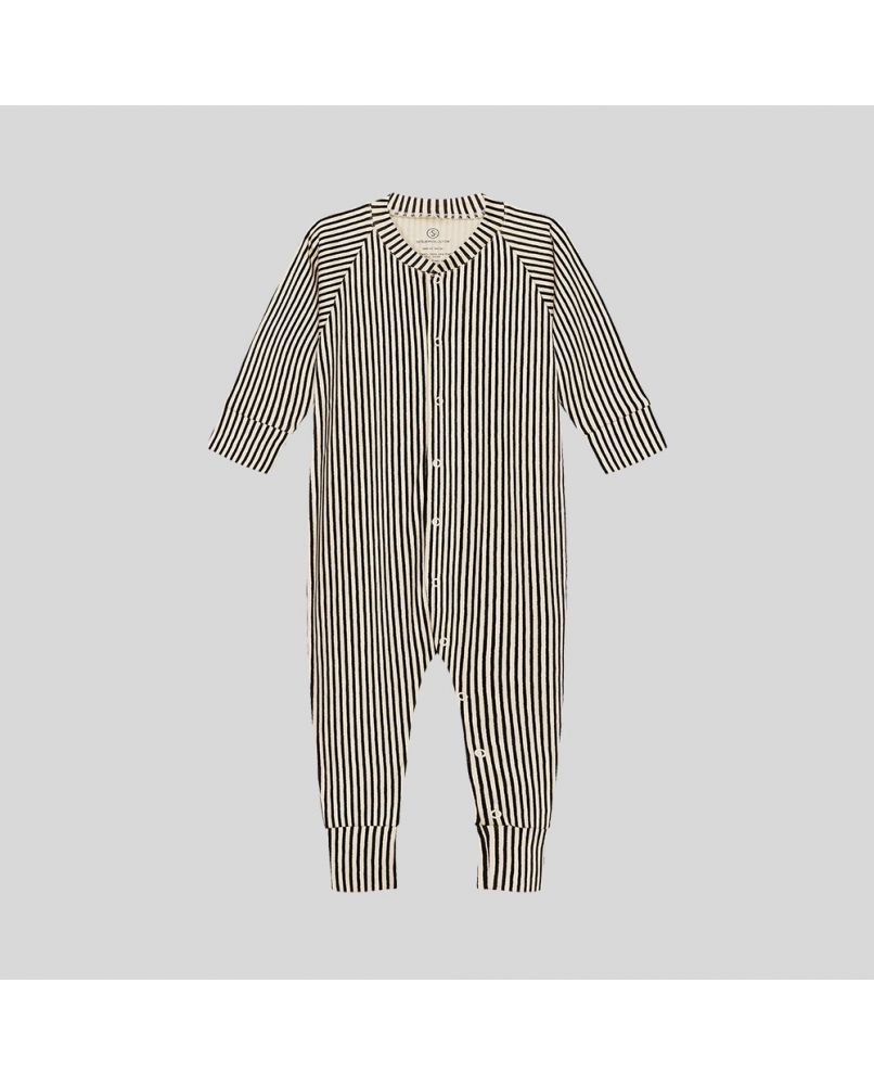 baby one-piece with stripes in beige and black